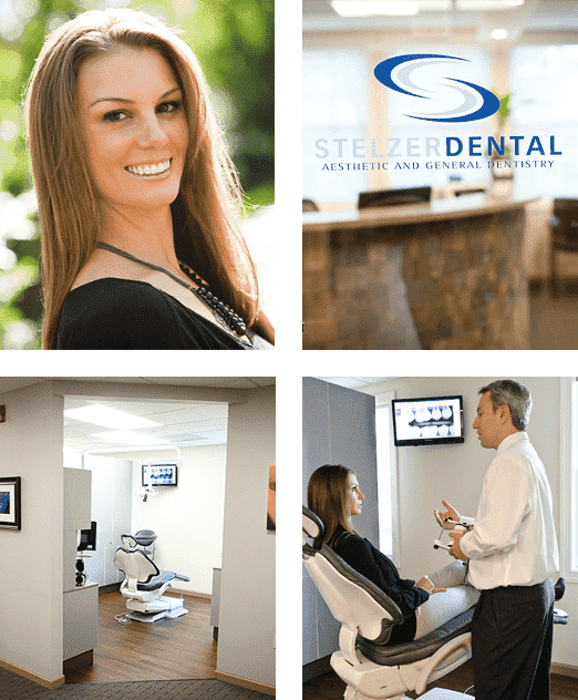 4 Photos - Woman smiling, Stelzer Dental Logo, Exam Room, Dr. Stezler Helping Patient