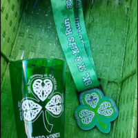 Shamrock themed glass and lanyard